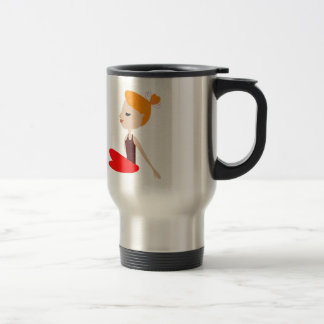 Yoga  red woman on white travel mug