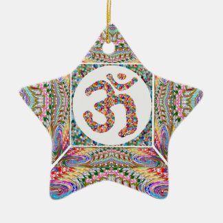 YOGA Room and OM Mantra at Back n Center Ceramic Star Ornament