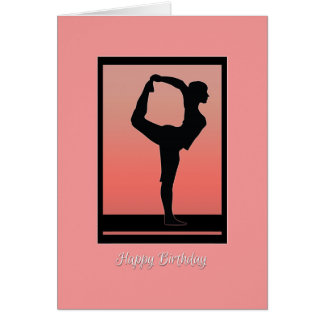 Yoga Silhouette and Sunset Birthday Card