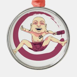 Yoga Silver-Colored Round Ornament