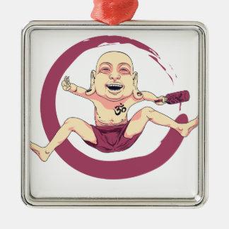 Yoga Silver-Colored Square Ornament