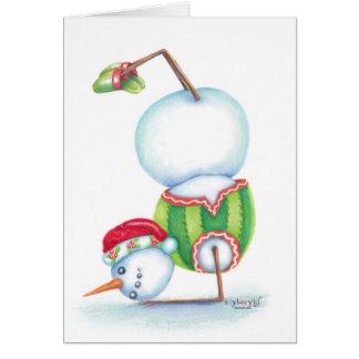 Yoga snowman christmas card/ scandinavian flair