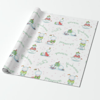 Yoga Snowman Wrapping Paper