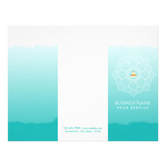 Yoga Spa Gold Triangle Mandala Watercolor Trifold Flyer