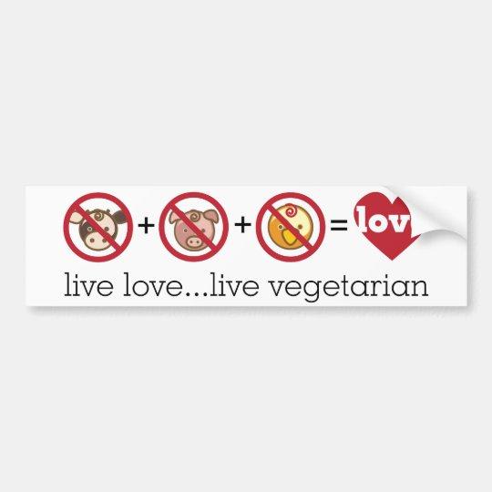 Yoga Speak : Live Love...Live Vegetarian Bumper Sticker