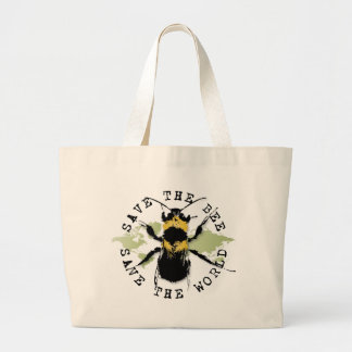 Yoga Speak : Save the Bee...Bag Large Tote Bag