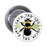 Yoga Speak : Save the Bee ... Save the World! 2 Inch Round Button
