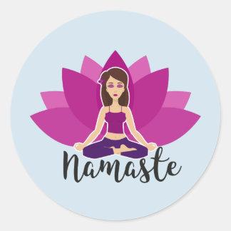 Yoga Sticker with namaste Yoga Girl