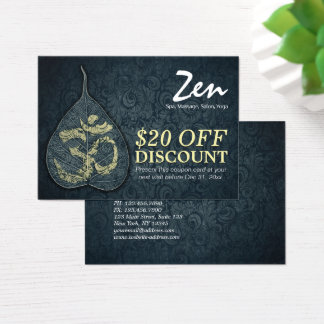 Yoga Studio Bodhi Leaf OM Symbol Discount Coupon Business Card