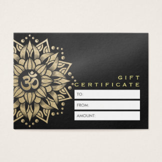 YOGA Studio Gift Certificate Gold Mandala Om Sign