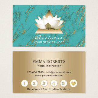 Yoga Studio Gold Lotus Modern Turquoise Loyalty Business Card