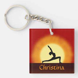Yoga Sunrise Square Single Sided Acrylic Key Rings