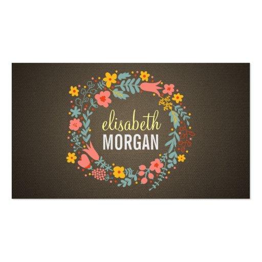 Yoga Teacher - Burlap Floral Wreath Business Cards
