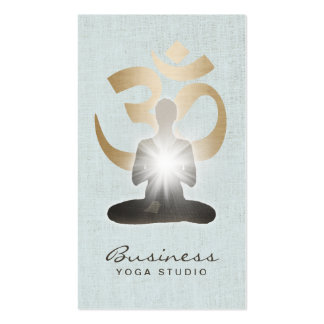 Yoga Teacher Gold Om Symbol Stylish Faux Linen Pack Of Standard Business Cards