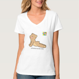 Yoga Teddy Bear Upward Dog / Downward Dog V-Neck T-Shirt