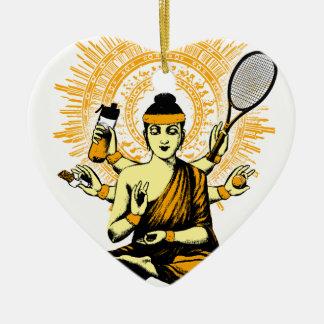 yoga tennis ceramic ornament