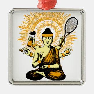 yoga tennis metal ornament