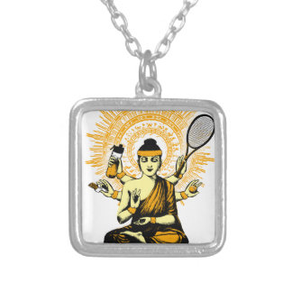 yoga tennis silver plated necklace