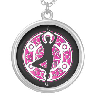 Yoga themed silver plated necklace