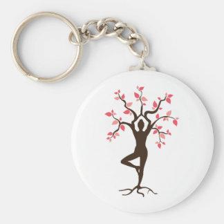 Yoga Tree Basic Round Button Keychain