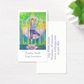 Yoga Tree Pose Full Moon Business Card