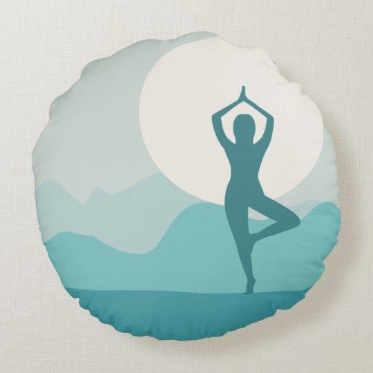 Yoga Tree Pose Round Pillow