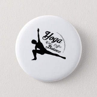 Yoga Wine Coffee Balance Funny Gift 2 Inch Round Button