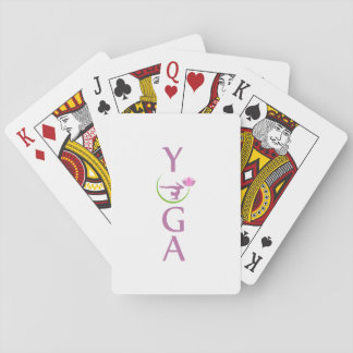 yoga with a pink lotus playing cards