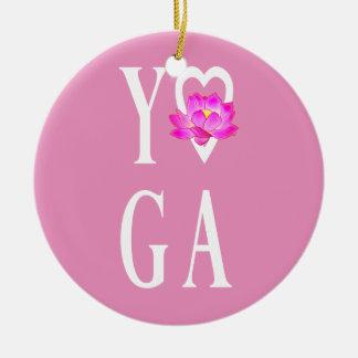 Yoga with Lotus Flower Ceramic Ornament