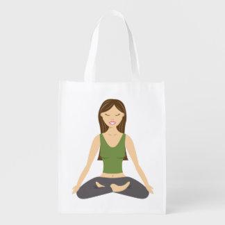 Yoga Woman In Lotus Pose Reusable Grocery Bag