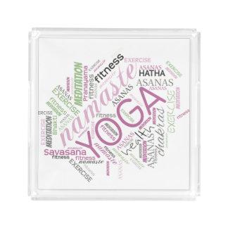 Yoga Word Cloud Plum/Green ID254 Serving Tray