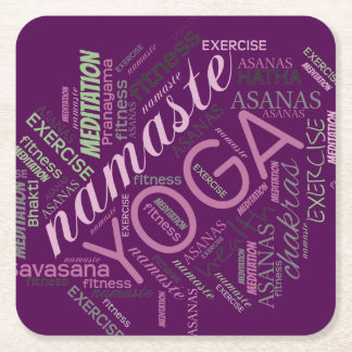 Yoga Word Cloud Plum/Green ID254 Square Paper Coaster