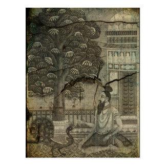 Yogi Feeding Peacock 1743 Engraving Enhanced Postcard