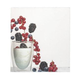 yogurt fresh berries notepad