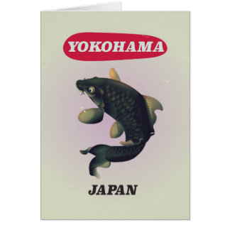 Yokohama Japan vintage style travel poster Card