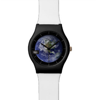 YOLO EARTH   editable message tag Wrist Watches