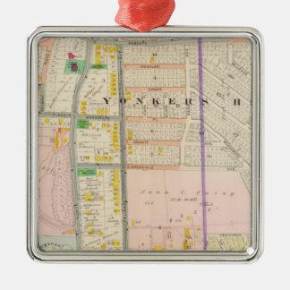 Yonkers NY Map Atlas Metal Ornament