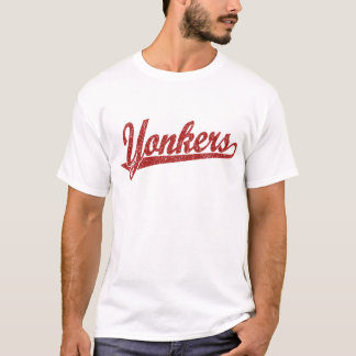 Yonkers script logo in red distressed T-Shirt