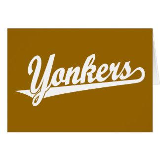 Yonkers script logo in white card