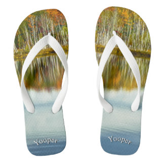 Yooper Fall Pond Reflections Nature Photography Flip Flops