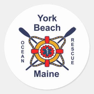 York Beach Ocean Rescue Round Sticker