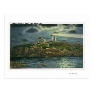 York Beach View of the Nubble Lighthouse at Postcard