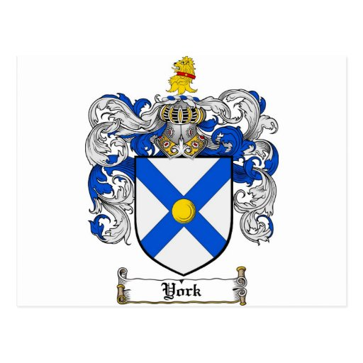 York Coat Of Arms / York Family Crest Postcard