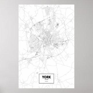 York, England (black on white) Poster