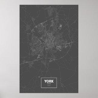 York, England (white on black) Poster