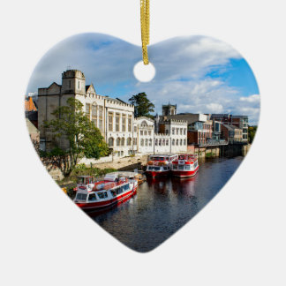 York Guildhall and river Ouse Ceramic Heart Ornament