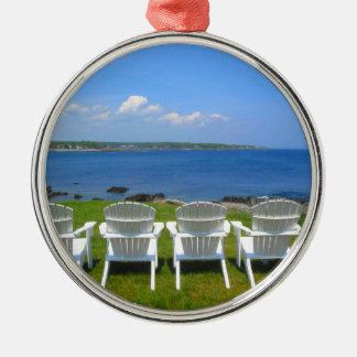 York Harbor View Silver-Colored Round Ornament