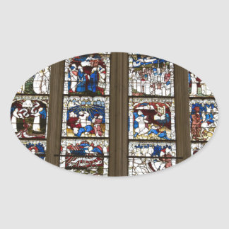 York Minster Great East Window. Oval Sticker