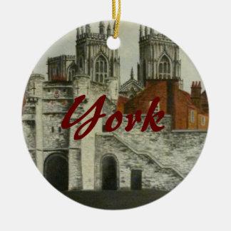 York painting - England Round Ceramic Ornament