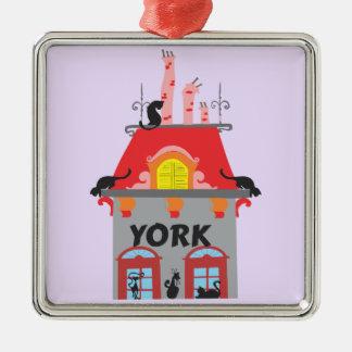 York Silver-Colored Square Ornament